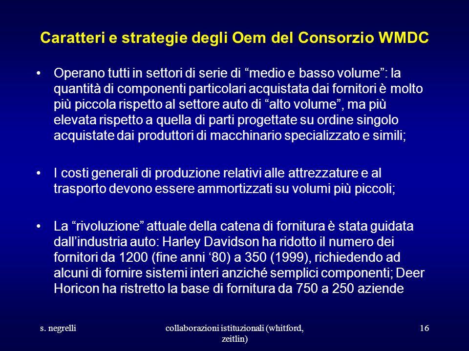 s. negrellicollaborazioni istituzionali (whitford, zeitlin) 16 Caratteri e strategie degli Oem del Consorzio WMDC Operano tutti in settori di serie di