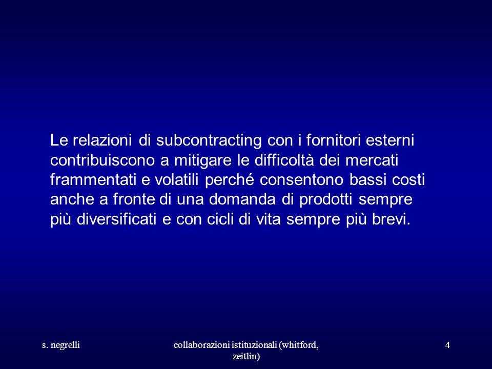 s. negrellicollaborazioni istituzionali (whitford, zeitlin) 4 Le relazioni di subcontracting con i fornitori esterni contribuiscono a mitigare le diff