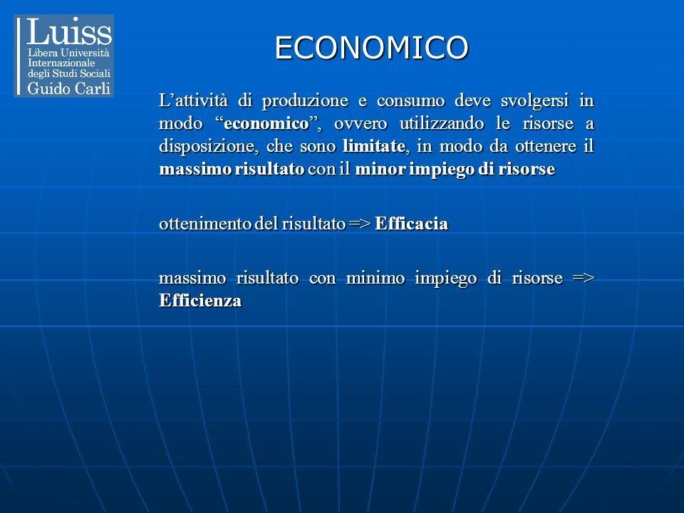 """ECONOMICO L'attività di produzione e consumo deve svolgersi in modo """"economico"""", ovvero utilizzando le risorse a disposizione, che sono limitate, in m"""
