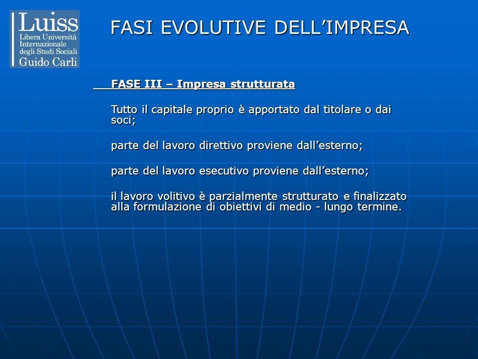 FASI EVOLUTIVE DELL'IMPRESA FASE III – Impresa strutturata Tutto il capitale proprio è apportato dal titolare o dai soci; parte del lavoro direttivo p
