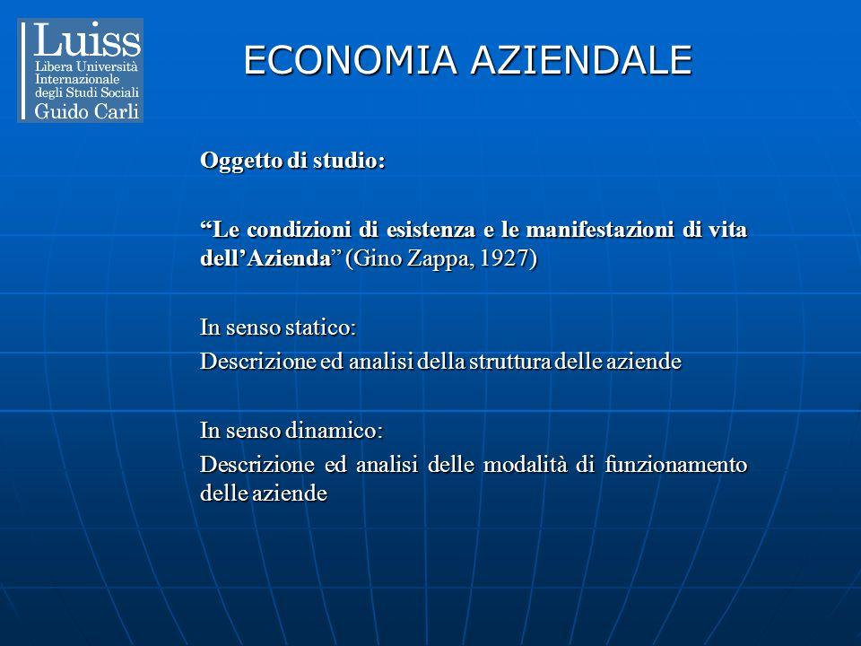 """ECONOMIA AZIENDALE Oggetto di studio: """"Le condizioni di esistenza e le manifestazioni di vita dell'Azienda"""" (Gino Zappa, 1927) In senso statico: Descr"""