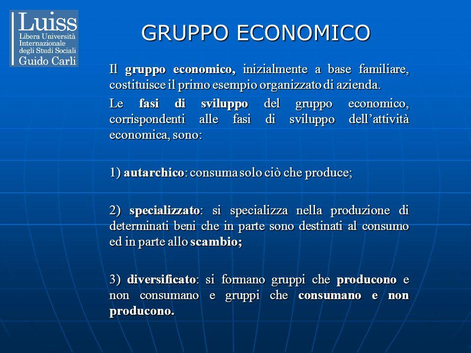 GRUPPO ECONOMICO Il gruppo economico, inizialmente a base familiare, costituisce il primo esempio organizzato di azienda. Le fasi di sviluppo del grup