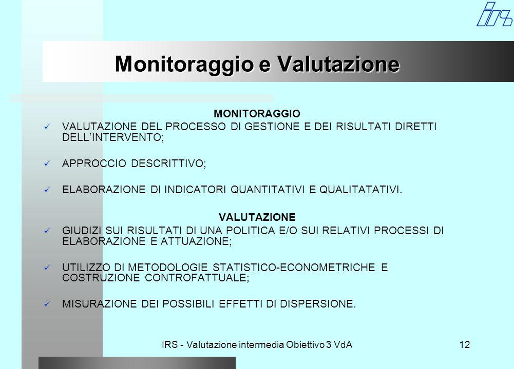 IRS - Valutazione intermedia Obiettivo 3 VdA12 Monitoraggio e Valutazione MONITORAGGIO VALUTAZIONE DEL PROCESSO DI GESTIONE E DEI RISULTATI DIRETTI DELL'INTERVENTO; APPROCCIO DESCRITTIVO; ELABORAZIONE DI INDICATORI QUANTITATIVI E QUALITATATIVI.