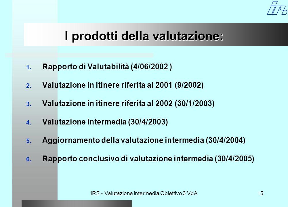 IRS - Valutazione intermedia Obiettivo 3 VdA15 I prodotti della valutazione: 1.