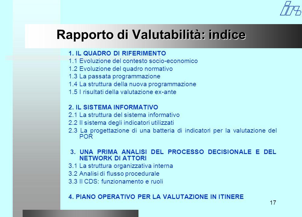 17 Rapporto di Valutabilità: indice 1.