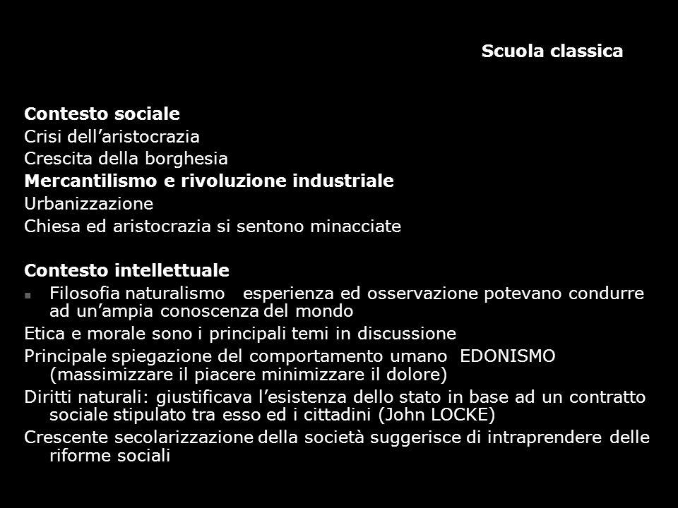 Scuola classica Contesto sociale Crisi dell'aristocrazia Crescita della borghesia Mercantilismo e rivoluzione industriale Urbanizzazione Chiesa ed ari