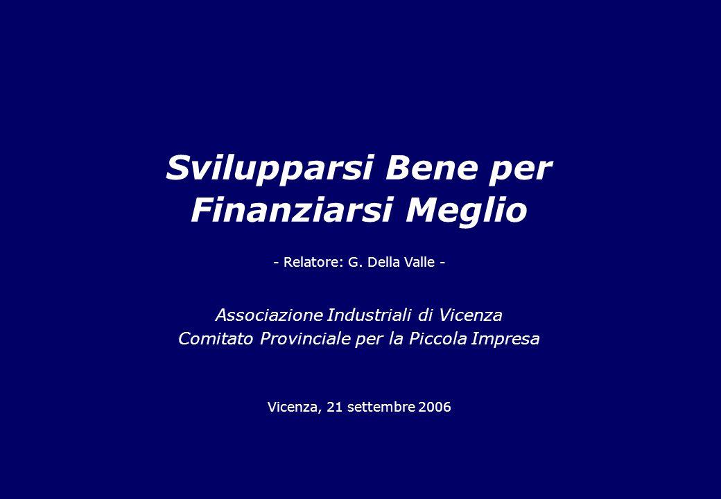 Svilupparsi Bene per Finanziarsi Meglio Associazione Industriali di Vicenza Comitato Provinciale per la Piccola Impresa Vicenza, 21 settembre 2006 - Relatore: G.