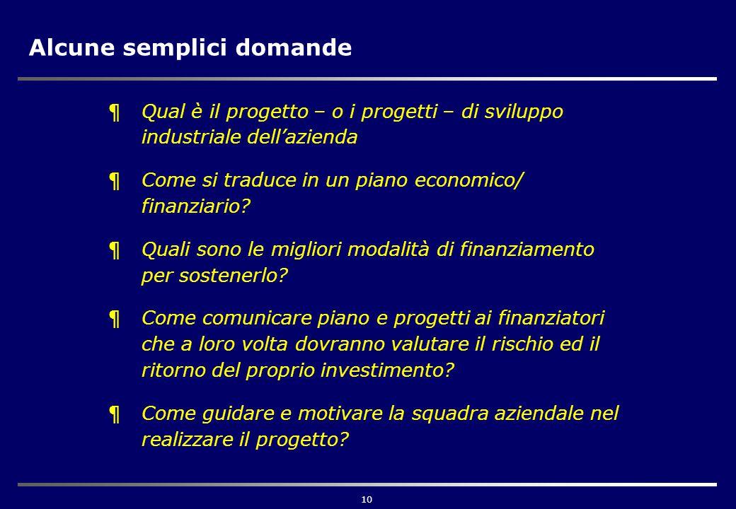 10 Alcune semplici domande ¶Qual è il progetto – o i progetti – di sviluppo industriale dell'azienda ¶Come si traduce in un piano economico/ finanziario.