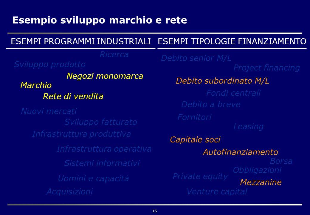 15 Esempio sviluppo marchio e rete Ricerca Sviluppo prodotto Negozi monomarca Rete di vendita Infrastruttura produttiva Infrastruttura operativa Marchio Nuovi mercati Sviluppo fatturato Sistemi informativi Acquisizioni Uomini e capacità ESEMPI PROGRAMMI INDUSTRIALIESEMPI TIPOLOGIE FINANZIAMENTO Borsa Debito senior M/L Debito subordinato M/L Debito a breve Leasing Capitale soci Autofinanziamento Fornitori Private equity Venture capital Fondi centrali Mezzanine Project financing Obbligazioni