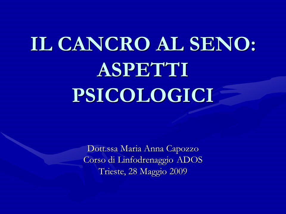 IL CANCRO AL SENO: ASPETTI PSICOLOGICI Dott.ssa Maria Anna Capozzo Corso di Linfodrenaggio ADOS Trieste, 28 Maggio 2009