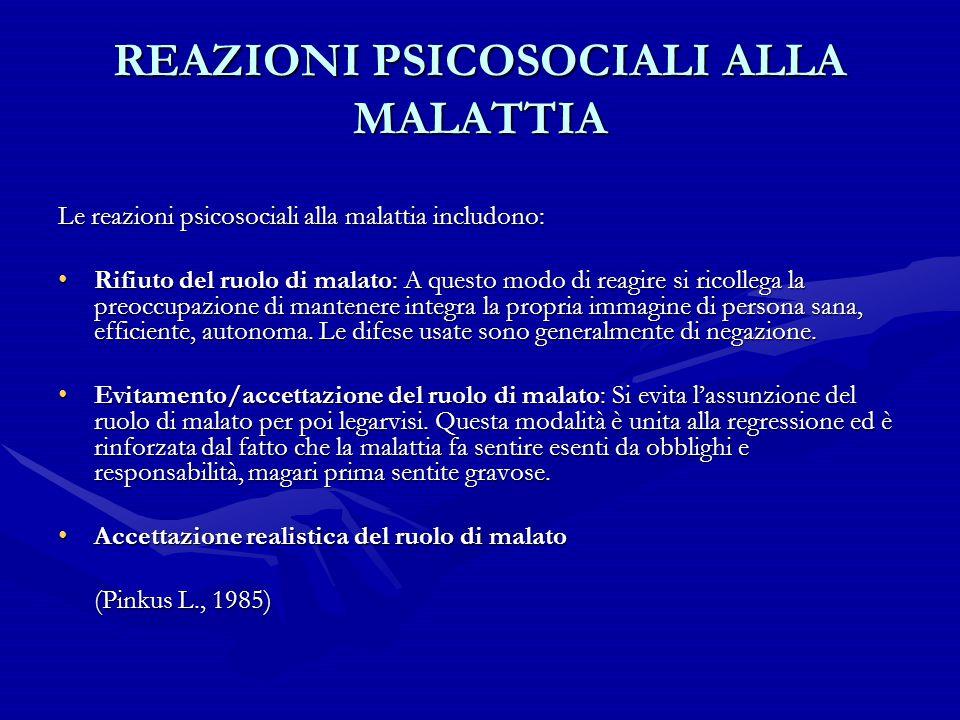 REAZIONI PSICOSOCIALI ALLA MALATTIA Le reazioni psicosociali alla malattia includono: Rifiuto del ruolo di malato: A questo modo di reagire si ricolle