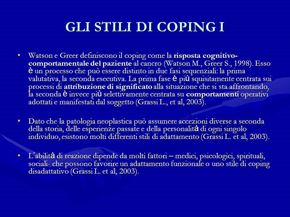 GLI STILI DI COPING I Watson e Greer definiscono il coping come la risposta cognitivo- comportamentale del paziente al cancro (Watson M., Greer S., 19