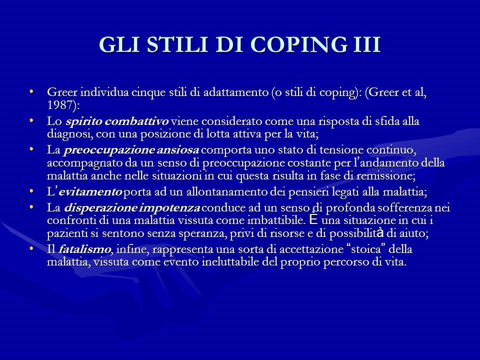 GLI STILI DI COPING III Greer individua cinque stili di adattamento (o stili di coping): (Greer et al, 1987):Greer individua cinque stili di adattamen