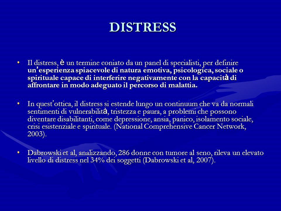 DISTRESS DISTRESS Il distress, è un termine coniato da un panel di specialisti, per definire un ' esperienza spiacevole di natura emotiva, psicologica