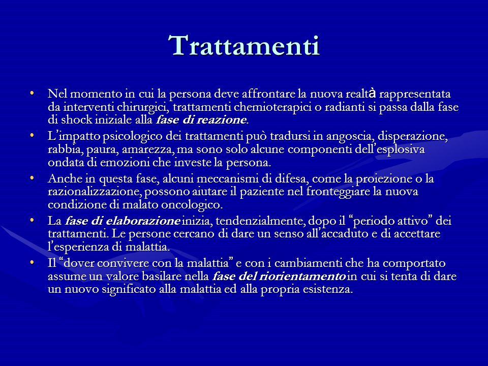 Trattamenti Nel momento in cui la persona deve affrontare la nuova realt à rappresentata da interventi chirurgici, trattamenti chemioterapici o radian
