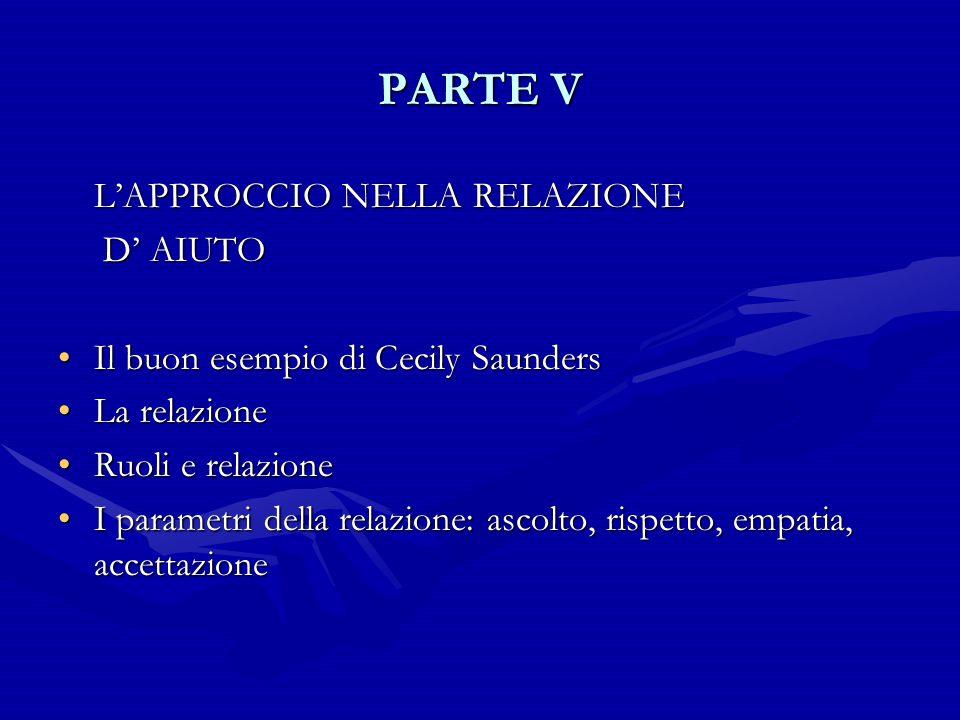 PARTE V L'APPROCCIO NELLA RELAZIONE D' AIUTO D' AIUTO Il buon esempio di Cecily SaundersIl buon esempio di Cecily Saunders La relazioneLa relazione Ru