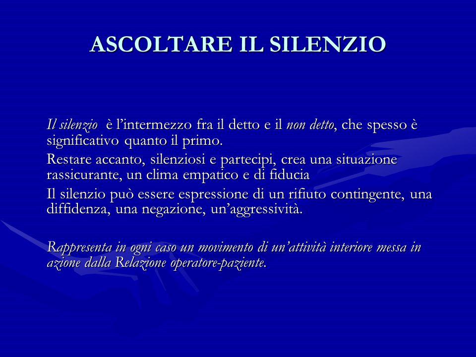 ASCOLTARE IL SILENZIO Il silenzio è l'intermezzo fra il detto e il non detto, che spesso è significativo quanto il primo. Restare accanto, silenziosi