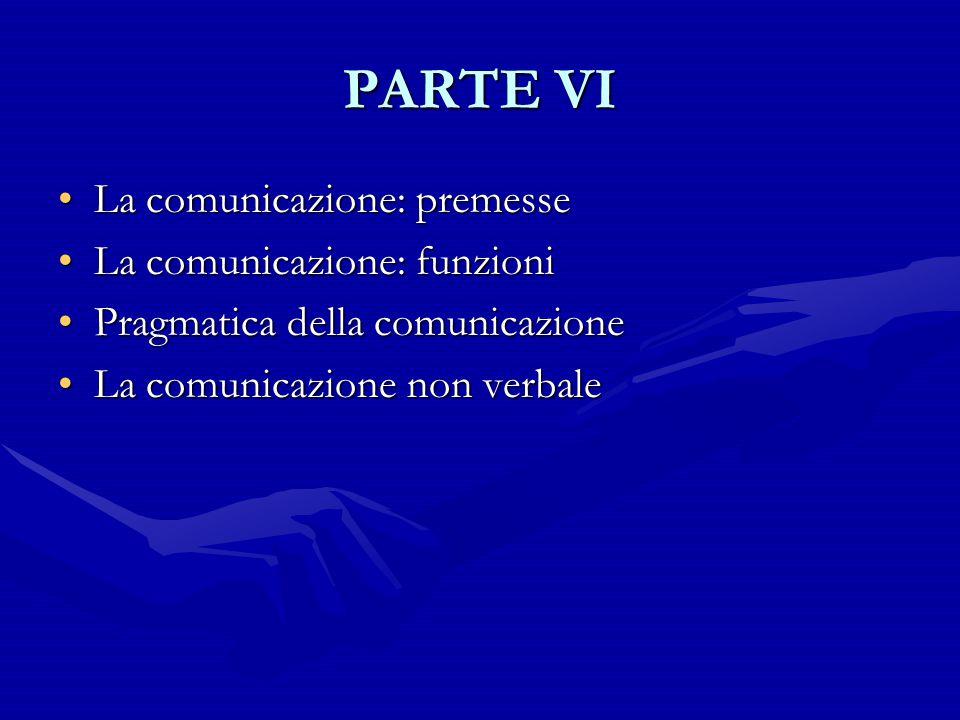PARTE VI La comunicazione: premesseLa comunicazione: premesse La comunicazione: funzioniLa comunicazione: funzioni Pragmatica della comunicazionePragm