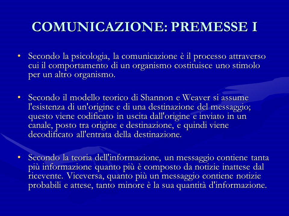 COMUNICAZIONE: PREMESSE I Secondo la psicologia, la comunicazione è il processo attraverso cui il comportamento di un organismo costituisce uno stimol
