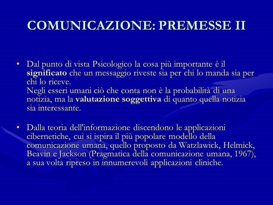 COMUNICAZIONE: PREMESSE II Dal punto di vista Psicologico la cosa più importante è il significato che un messaggio riveste sia per chi lo manda sia pe