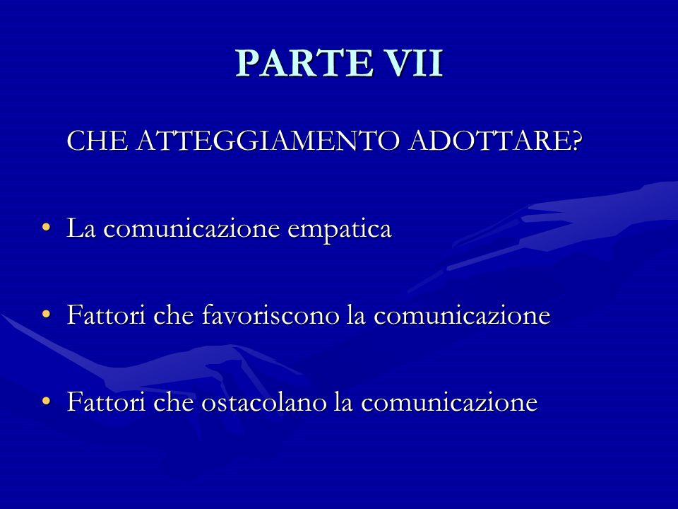 PARTE VII CHE ATTEGGIAMENTO ADOTTARE? La comunicazione empaticaLa comunicazione empatica Fattori che favoriscono la comunicazioneFattori che favorisco
