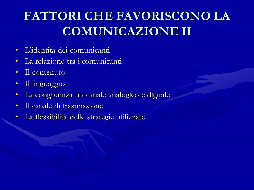 FATTORI CHE FAVORISCONO LA COMUNICAZIONE II L'identità dei comunicantiL'identità dei comunicanti La relazione tra i comunicantiLa relazione tra i comu