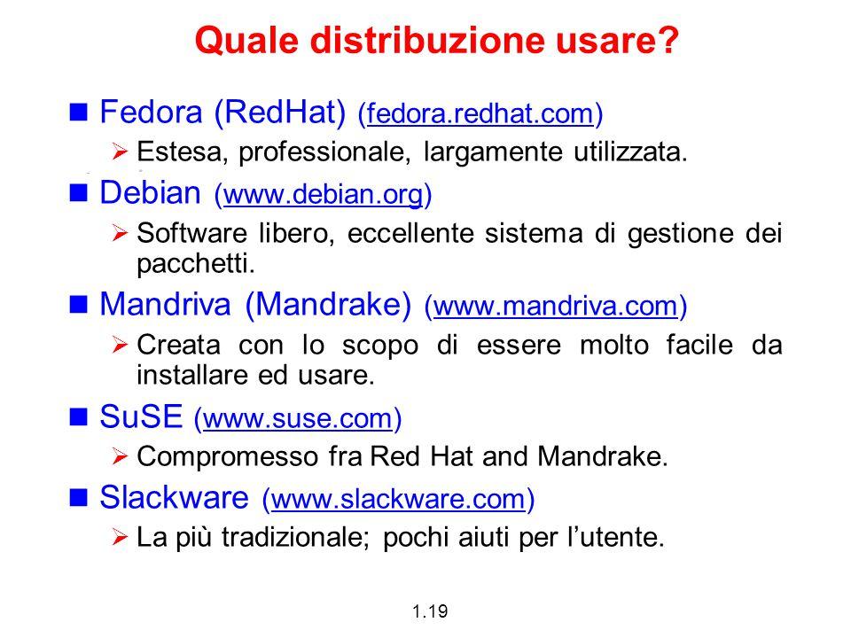 1.19 Quale distribuzione usare? Fedora (RedHat) (fedora.redhat.com).redhat.com  Estesa, professionale, largamente utilizzata. Debian (www.debian.org)