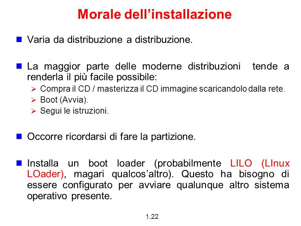 1.22 Morale dell'installazione Varia da distribuzione a distribuzione. La maggior parte delle moderne distribuzioni tende a renderla il più facile pos