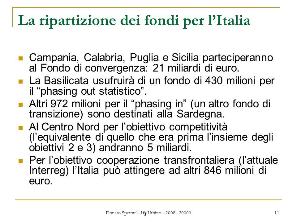 Donato Speroni - Ifg Urbino - 2008 - 20009 11 La ripartizione dei fondi per l'Italia Campania, Calabria, Puglia e Sicilia parteciperanno al Fondo di convergenza: 21 miliardi di euro.