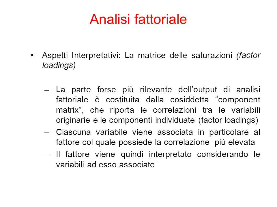 Aspetti Interpretativi: La matrice delle saturazioni (factor loadings) –La parte forse più rilevante dell'output di analisi fattoriale è costituita da