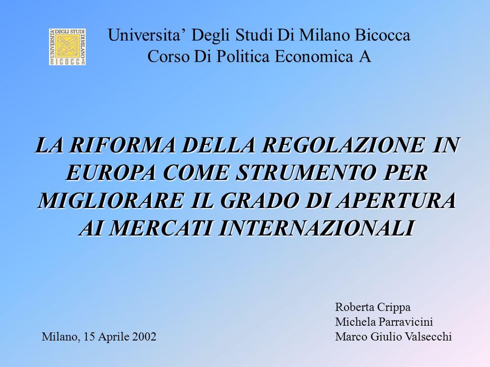 Universita' Degli Studi Di Milano Bicocca Corso Di Politica Economica A Milano, 15 Aprile 2002 Roberta Crippa Michela Parravicini Marco Giulio Valsecc