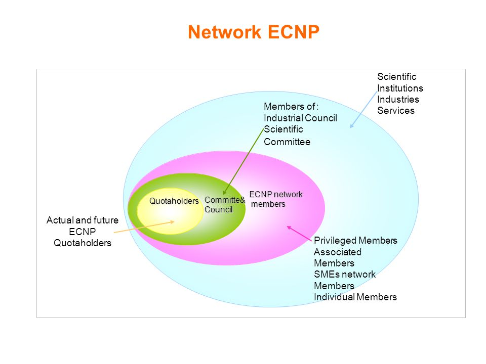 Quotaholders Committe&Council ECNP network members members Actual and future ECNP Quotaholders Members of : Industrial Council Scientific Committee Scientific Institutions Industries Services Privileged Members Associated Members SMEs network Members Individual Members Network ECNP