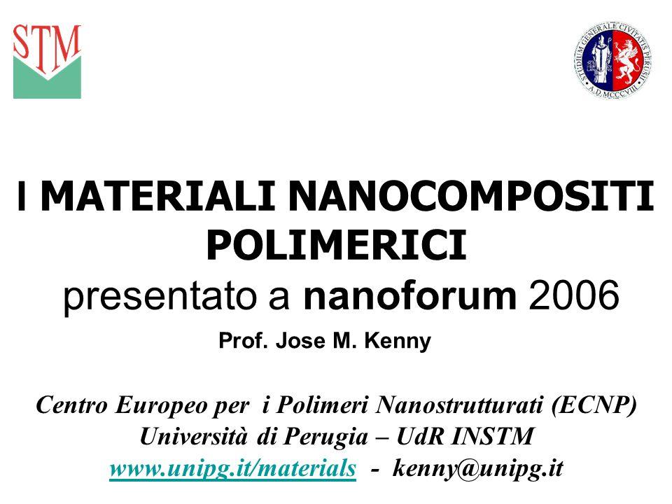 I MATERIALI NANOCOMPOSITI POLIMERICI presentato a nanoforum 2006 Prof. Jose M. Kenny Centro Europeo per i Polimeri Nanostrutturati (ECNP) Università d