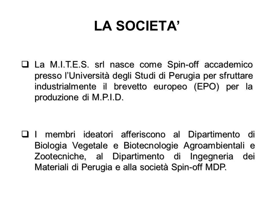 LA SOCIETA'  La M.I.T.E.S. srl nasce come Spin-off accademico presso l'Università degli Studi di Perugia per sfruttare industrialmente il brevetto eu