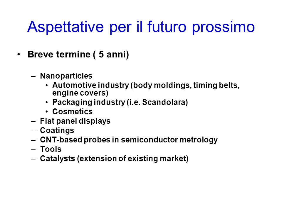Aspettative per il futuro prossimo Breve termine ( 5 anni) –Nanoparticles Automotive industry (body moldings, timing belts, engine covers) Packaging industry (i.e.