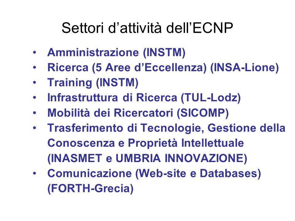 Settori d'attività dell'ECNP Amministrazione (INSTM) Ricerca (5 Aree d'Eccellenza) (INSA-Lione) Training (INSTM) Infrastruttura di Ricerca (TUL-Lodz)