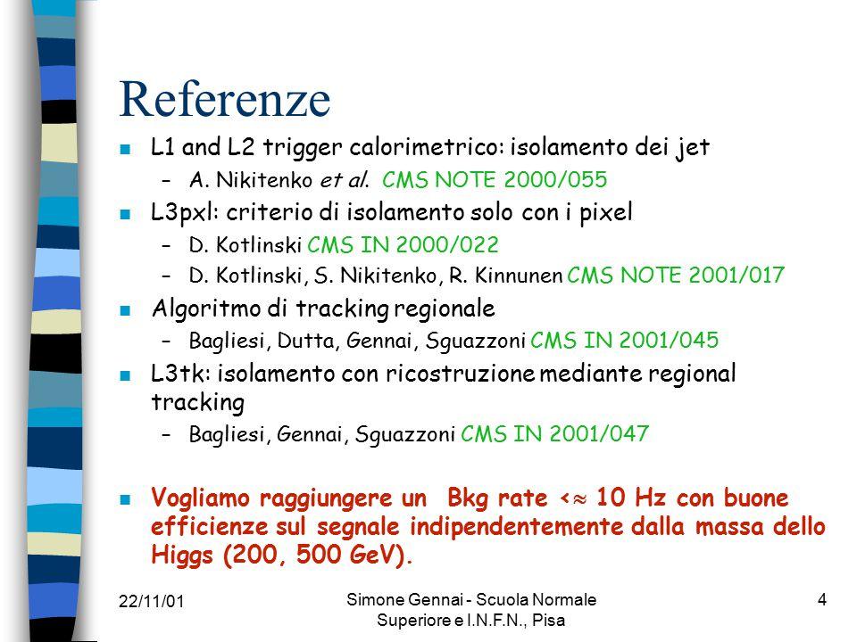 22/11/01 Simone Gennai - Scuola Normale Superiore e I.N.F.N., Pisa 25 Conclusioni n Buone efficienze sul segnale ~35-40% con una reiezione del fondo di ~10 3, per entrambe le masse (500 GeV/c 2 e 200 GeV/c 2) con: –L2Pxl, L2Tk or L2Calo + L3Pxl/L3Tk n Le efficienze per 1-prong e 3-prong sono circa le stesse n Tagliando sulla molteplicita' delle tracce si aumenta la reiezione sul fondo e si possono allentare i tagli.