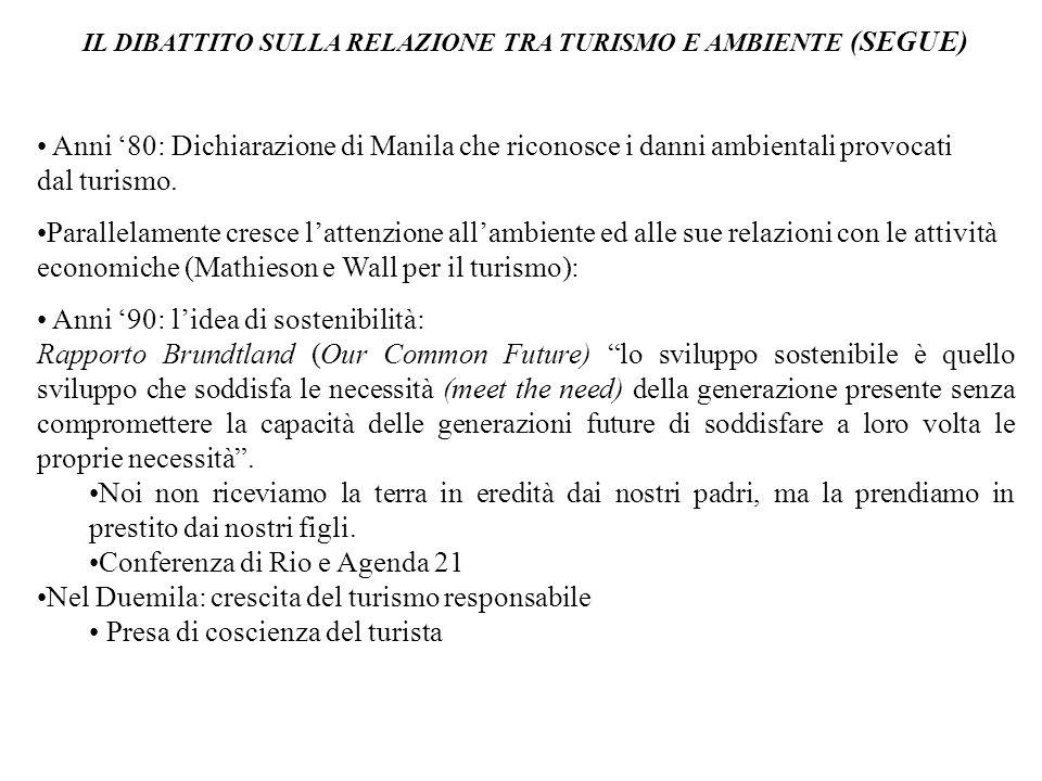 IL DIBATTITO SULLA RELAZIONE TRA TURISMO E AMBIENTE (SEGUE) Anni '80: Dichiarazione di Manila che riconosce i danni ambientali provocati dal turismo.