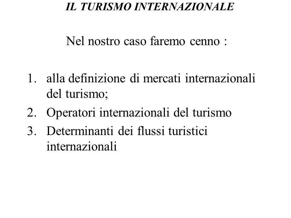 IL TURISMO INTERNAZIONALE Nel nostro caso faremo cenno : 1.alla definizione di mercati internazionali del turismo; 2.Operatori internazionali del turi