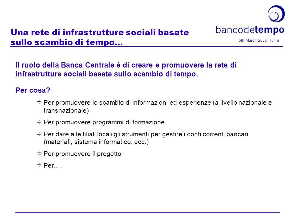 5th March 2005, Turim Una rete di infrastrutture sociali basate sullo scambio di tempo...