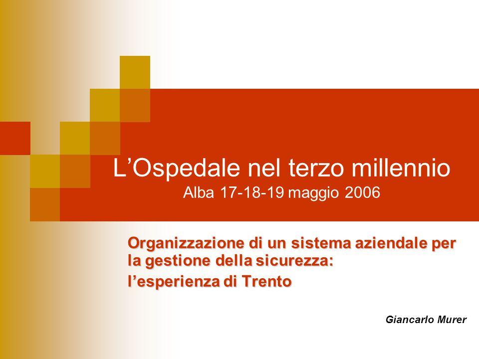 L'Ospedale nel terzo millennio Alba 17-18-19 maggio 2006 Organizzazione di un sistema aziendale per la gestione della sicurezza: l'esperienza di Trent