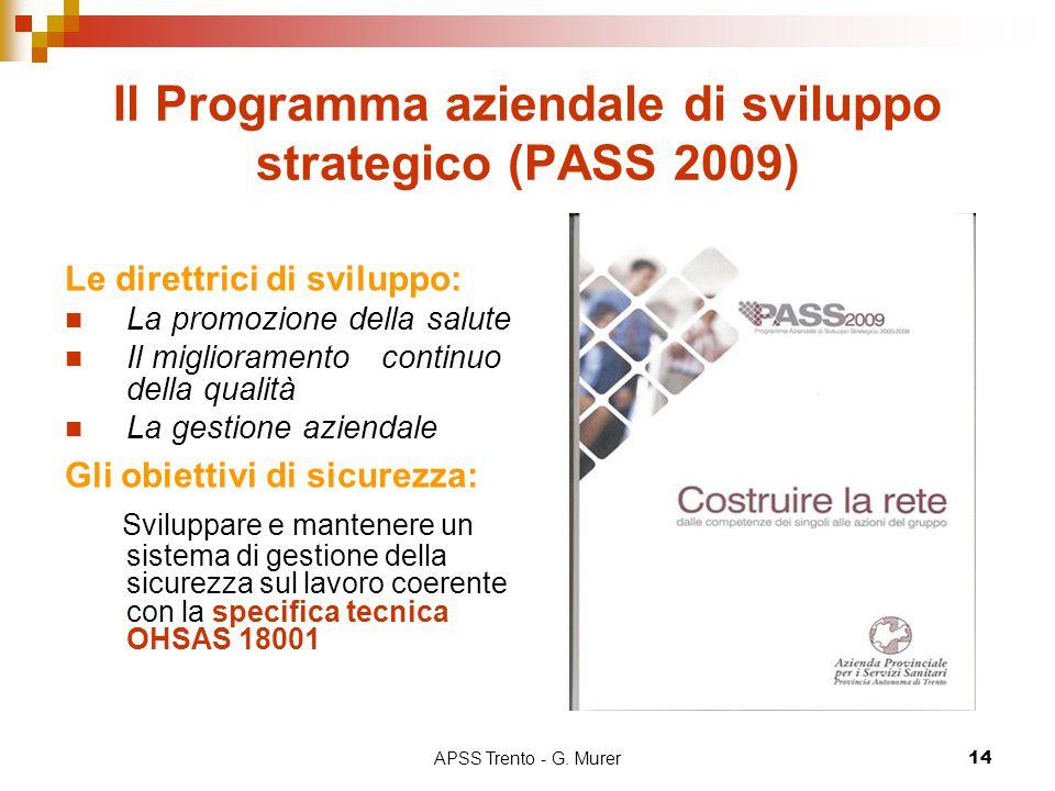 APSS Trento - G. Murer14 Il Programma aziendale di sviluppo strategico (PASS 2009) Le direttrici di sviluppo: La promozione della salute Il migliorame
