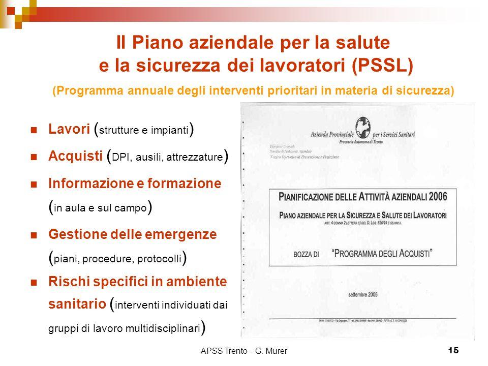 APSS Trento - G. Murer15 Il Piano aziendale per la salute e la sicurezza dei lavoratori (PSSL) (Programma annuale degli interventi prioritari in mater
