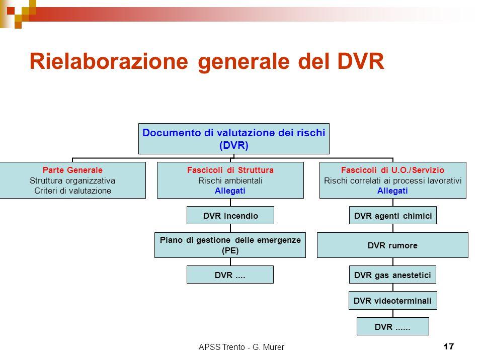 APSS Trento - G. Murer17 Rielaborazione generale del DVR