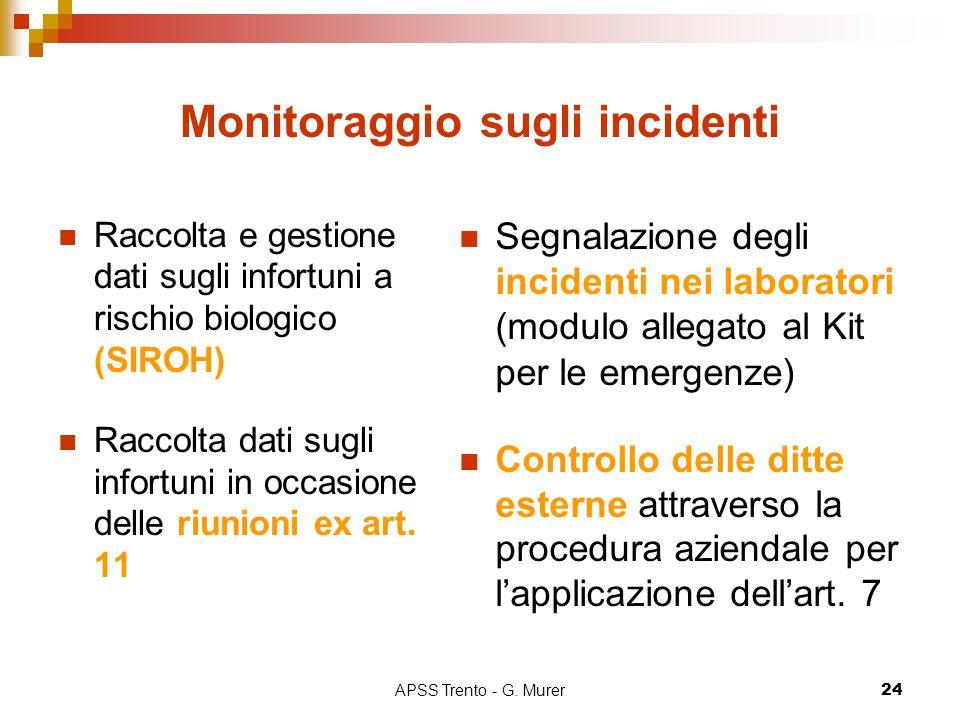 APSS Trento - G. Murer24 Monitoraggio sugli incidenti Raccolta e gestione dati sugli infortuni a rischio biologico (SIROH) Raccolta dati sugli infortu