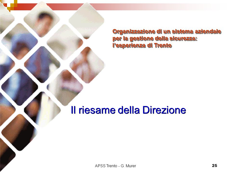APSS Trento - G. Murer25 Il riesame della Direzione Organizzazione di un sistema aziendale per la gestione della sicurezza: l'esperienza di Trento Org