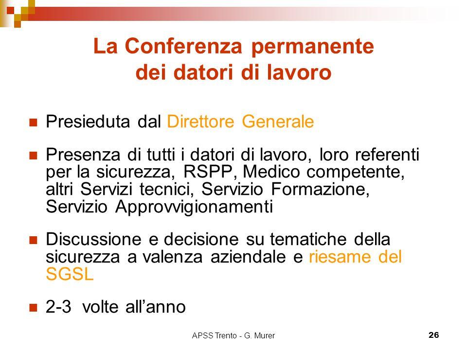 APSS Trento - G. Murer26 La Conferenza permanente dei datori di lavoro Presieduta dal Direttore Generale Presenza di tutti i datori di lavoro, loro re