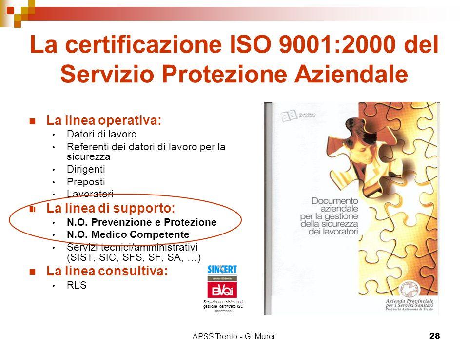 APSS Trento - G. Murer28 La certificazione ISO 9001:2000 del Servizio Protezione Aziendale La linea operativa: Datori di lavoro Referenti dei datori d