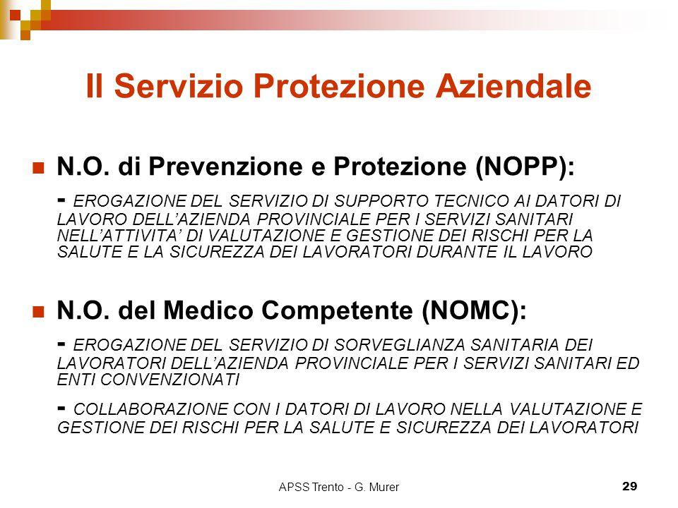 APSS Trento - G. Murer29 Il Servizio Protezione Aziendale N.O. di Prevenzione e Protezione (NOPP): - EROGAZIONE DEL SERVIZIO DI SUPPORTO TECNICO AI DA