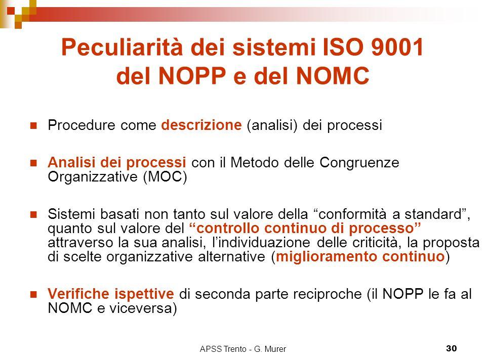 APSS Trento - G. Murer30 Peculiarità dei sistemi ISO 9001 del NOPP e del NOMC Procedure come descrizione (analisi) dei processi Analisi dei processi c